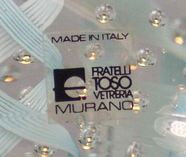 Fratelli Toso Murano Glass Label
