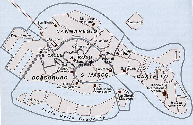 Map of Venice with Landmarks