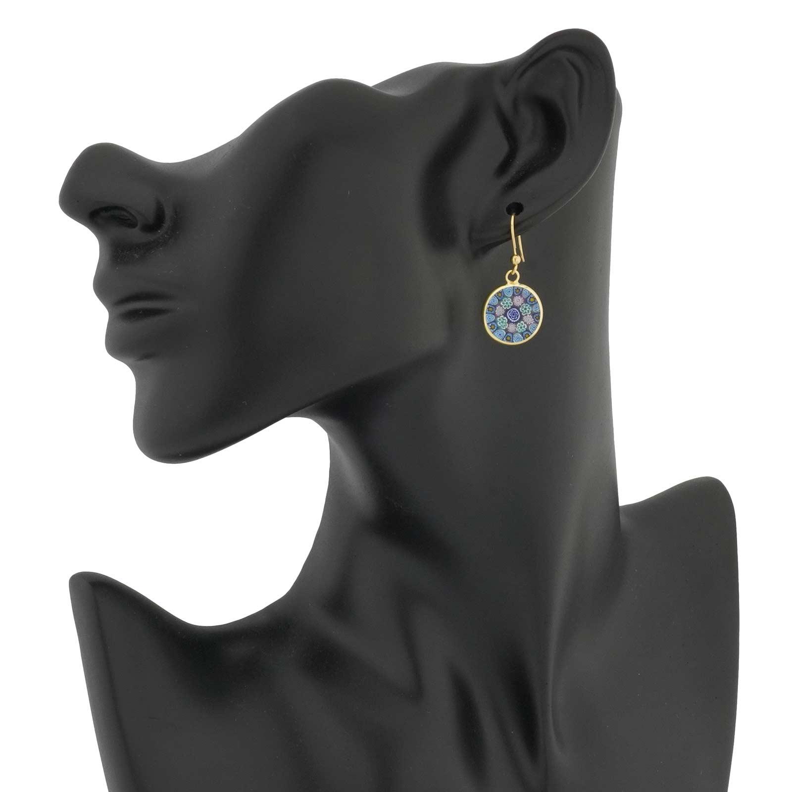 Millefiori Round Dangle Earrings Gold