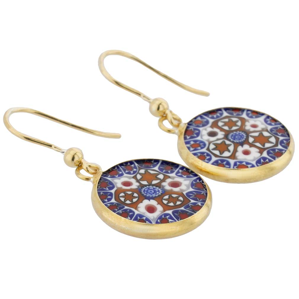 Millefiori Round Dangle Earrings Gold