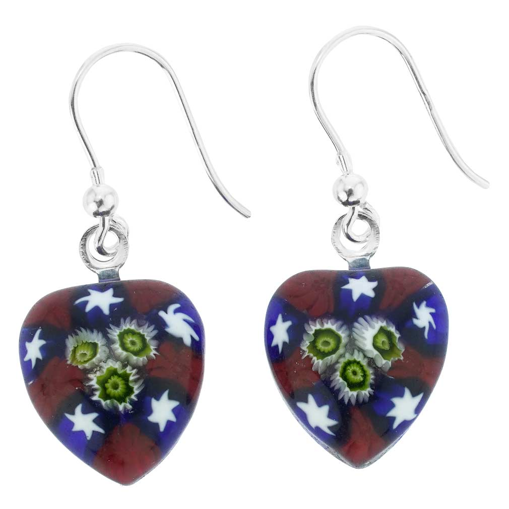 Millefiori Heart Earrings Silver