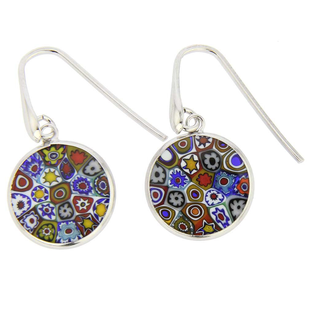 Millefiori Round Dangle Earrings Silver