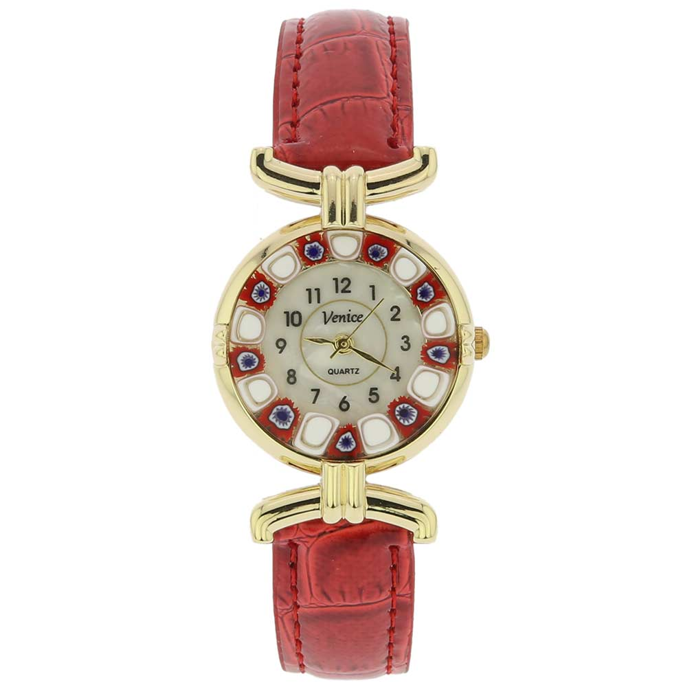 Murano millefiori watch with leather band - red