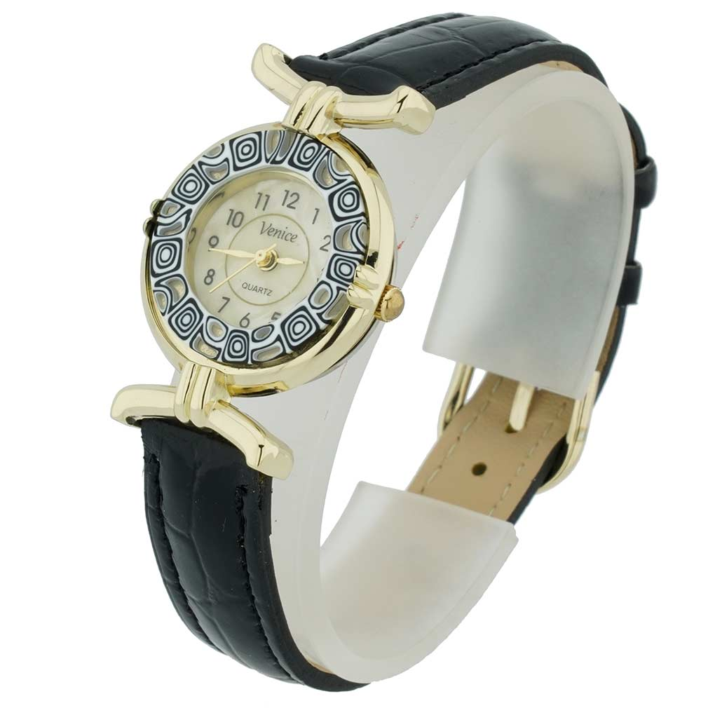 Murano Millefiori Watch With Leather Band Black