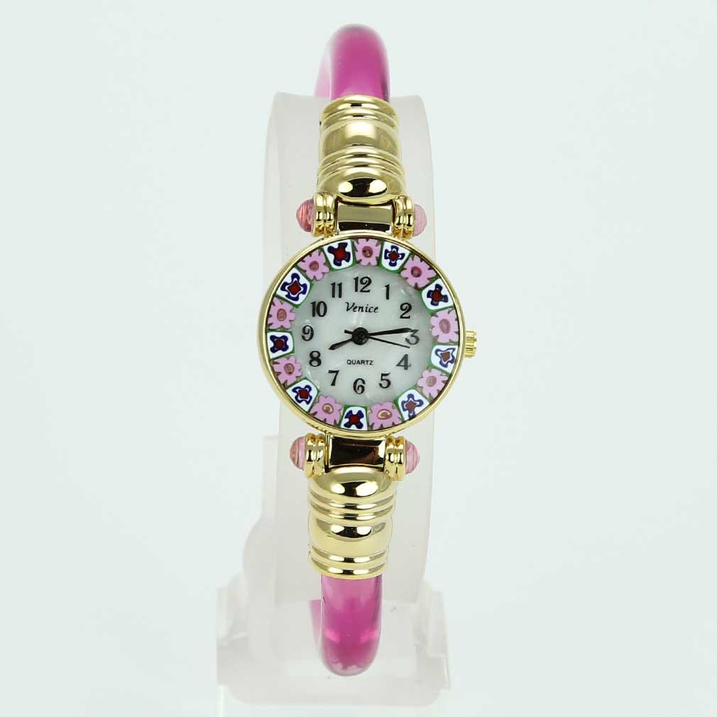 Murano Watches Murano Millefiori Bangle Watch Coral Pink