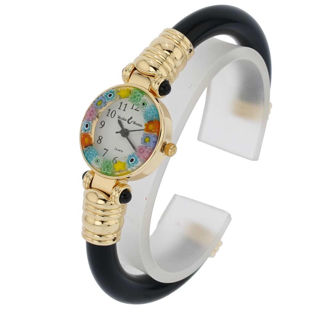 Murano Watches Murano Millefiori Bangle Watch Black