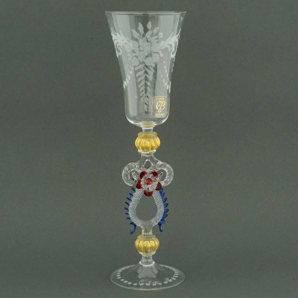 Murano Glass Museum Goblet - Engraved with Blue and Red