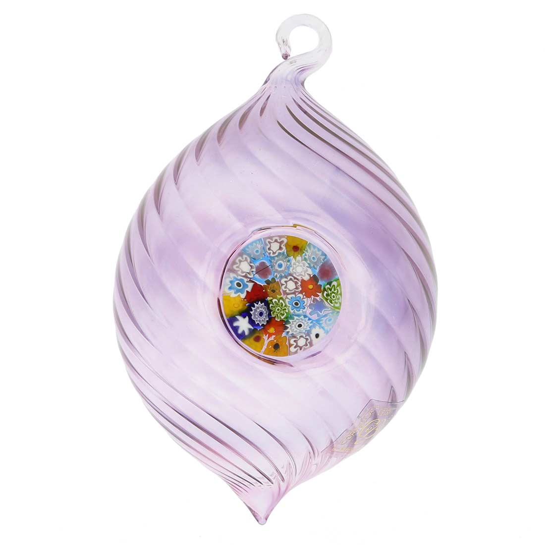Murano Glass Millefiori Christmas Ornament - Purple