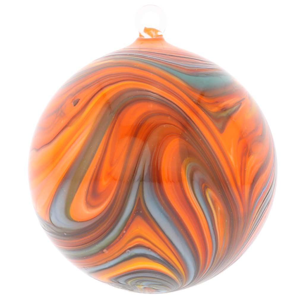 Murano glass chalcedony christmas ornament rainbow swirl - Murano glass ornaments italy ...
