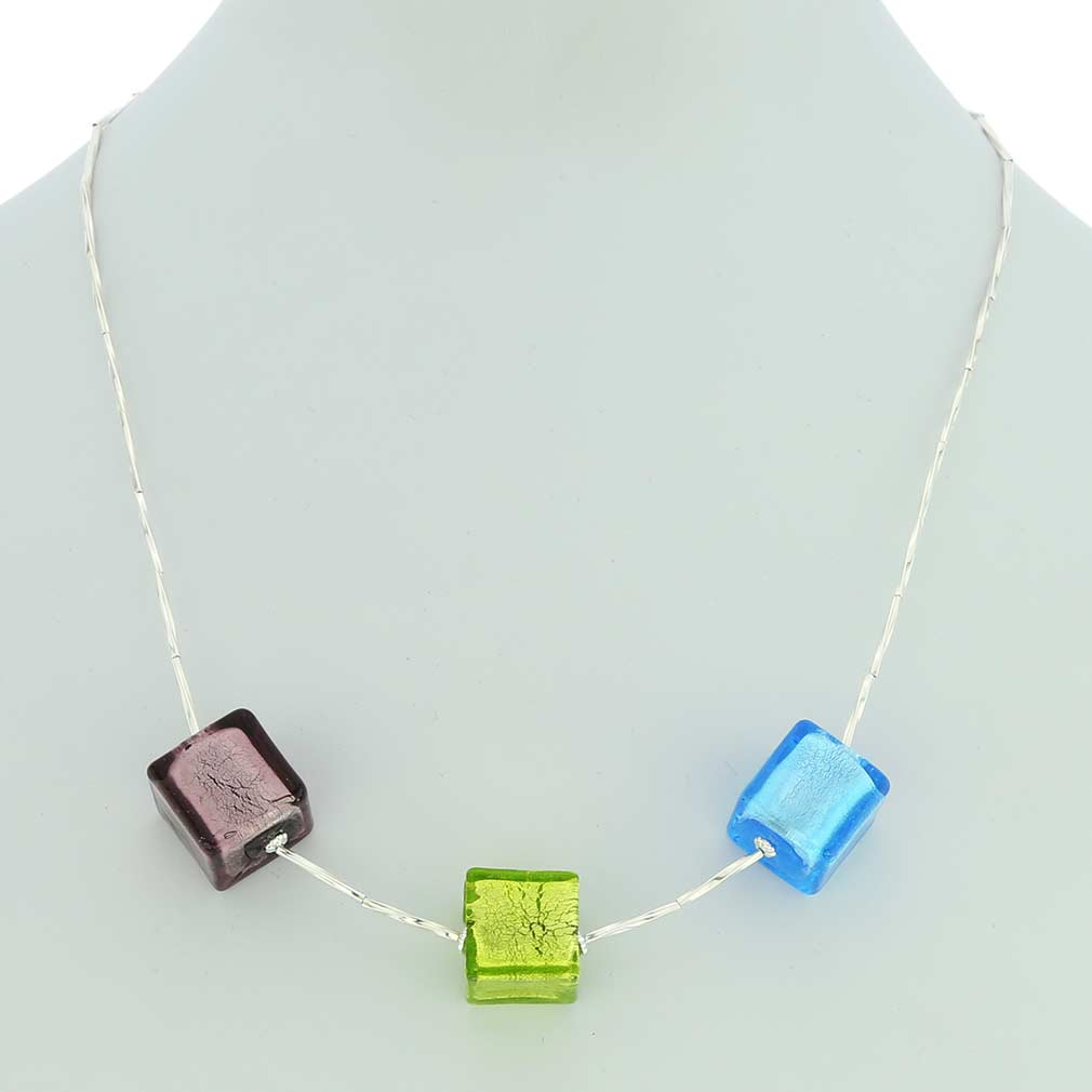 Three Cubes Silver Foil Murano necklace