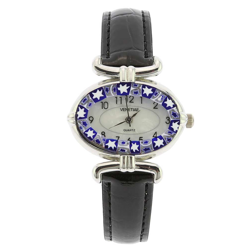 Murano Millefiori Oval Watch with Leather Band - Blue