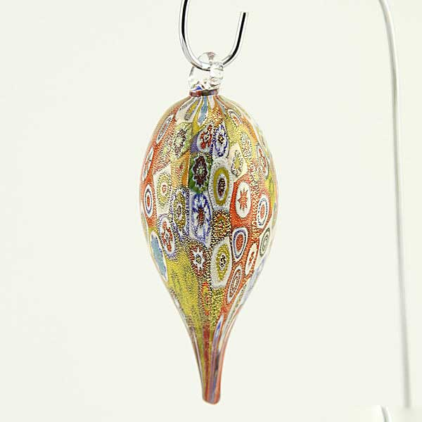 Murano Glass Icicle Christmas Ornament - Gold Millefiori