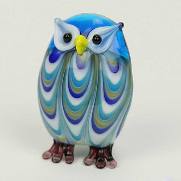 Murano Sculptures Murano Art Glass Owl Figurine Aqua
