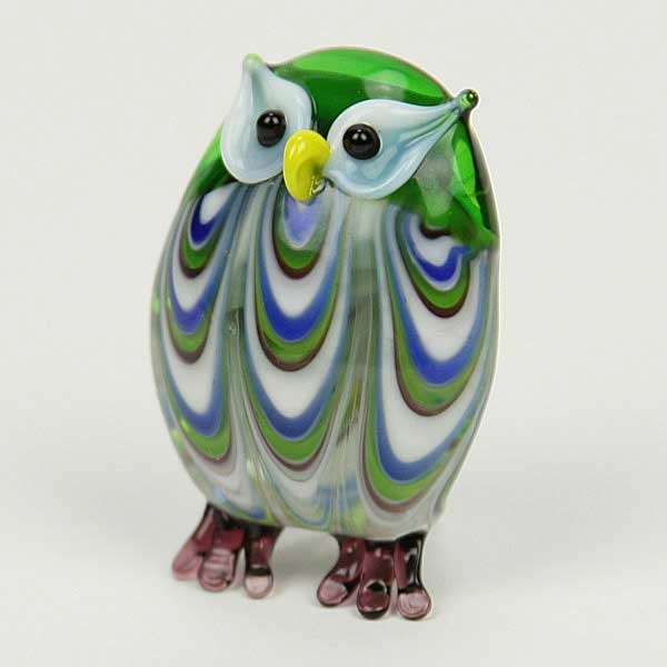 Murano Sculptures Murano Art Glass Owl Figurine Jade Green