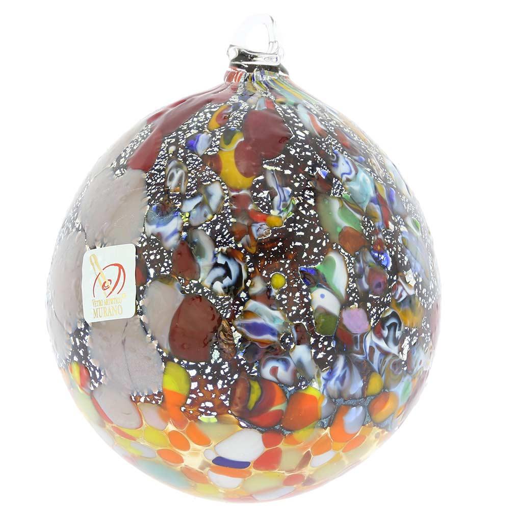 Christmas tree ornaments millefiori silver foil murano - Murano glass ornaments italy ...