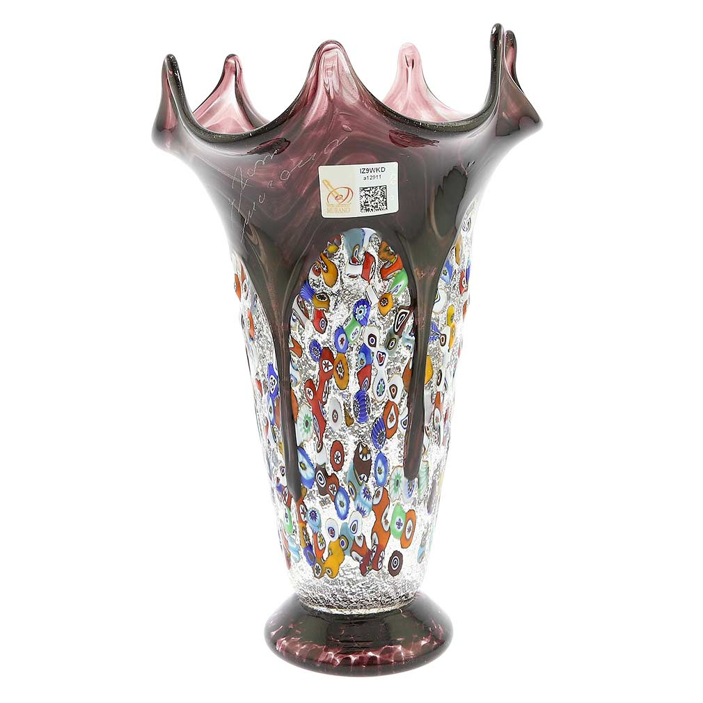 murano millefiori art glass fazzoletto vase silver amethyst. Black Bedroom Furniture Sets. Home Design Ideas