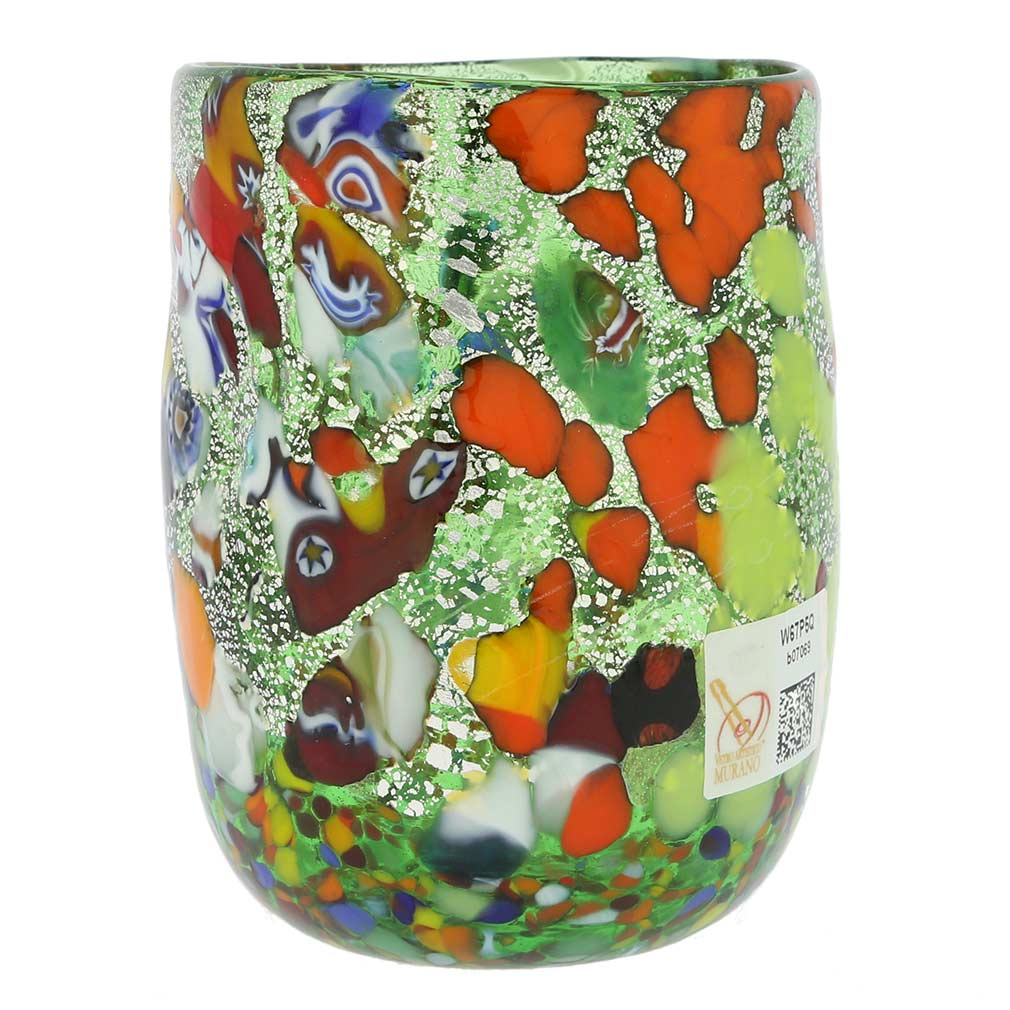 Murano Drinking Glass - Millefiori Silver Green