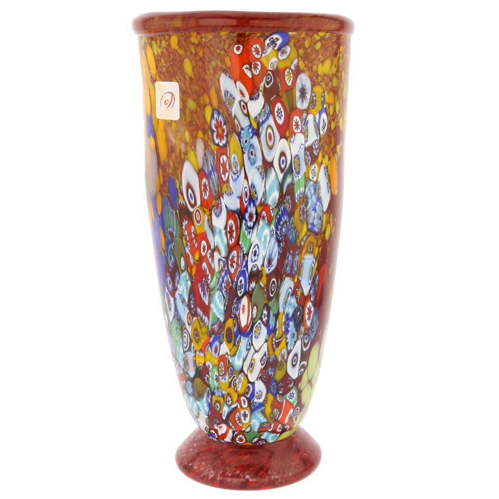 Murano Millefiori Art Glass Vase - Ruby Red