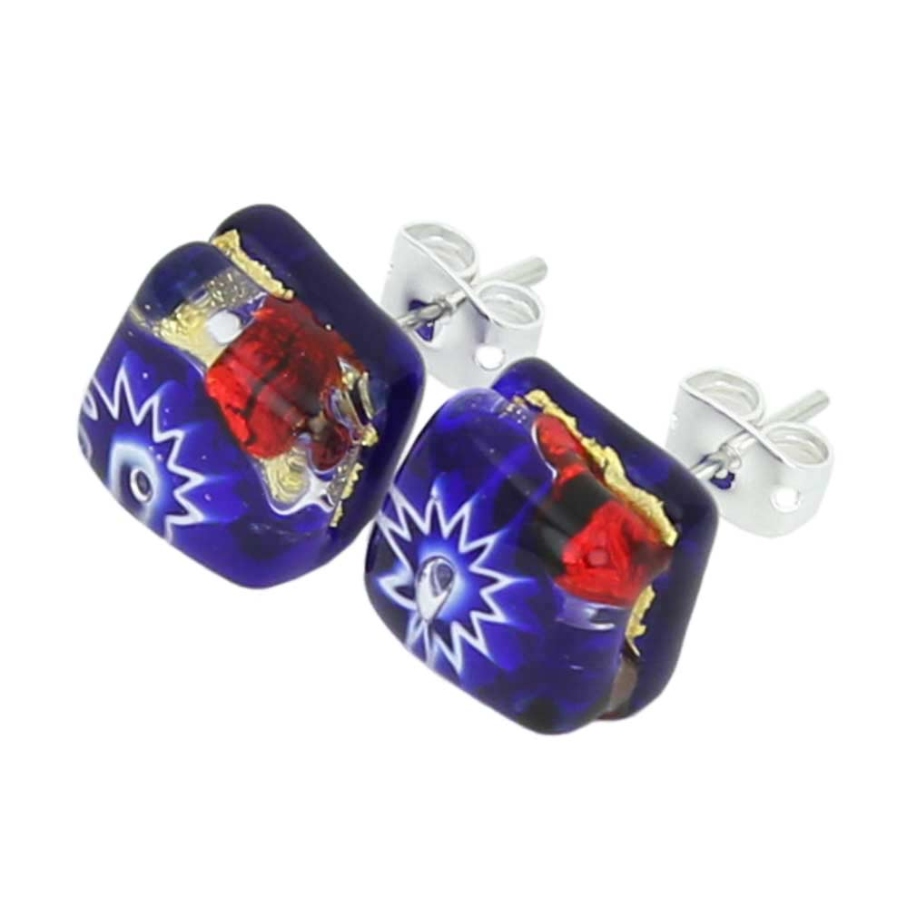 Murano Earrings Venetian Reflections Square Stud