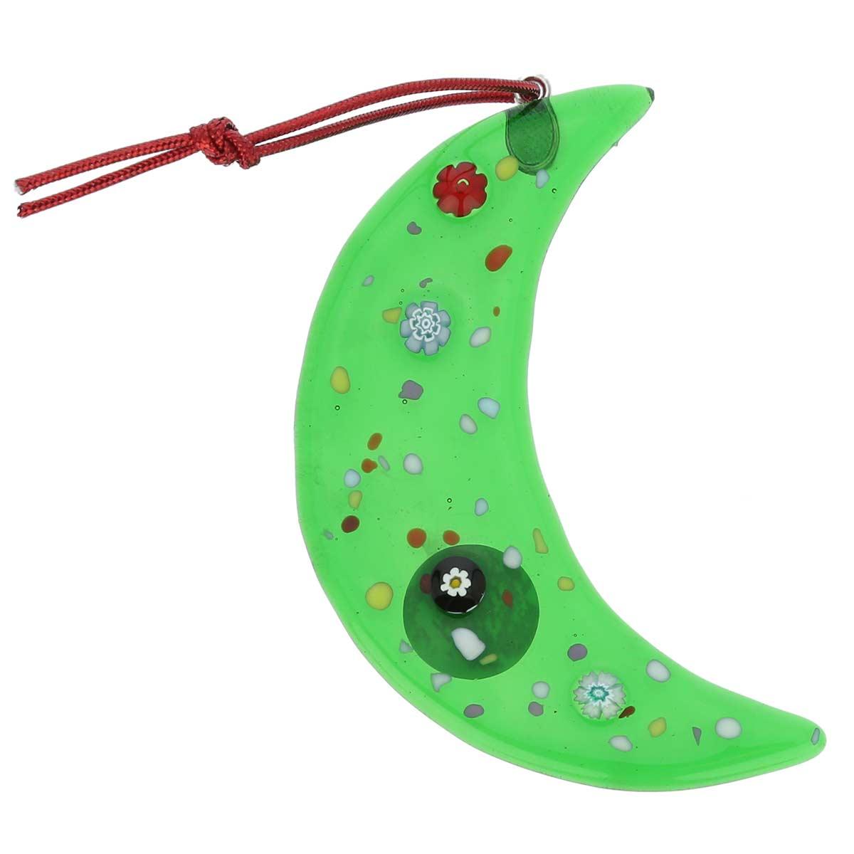 Murano glass moon christmas ornament green - Murano glass ornaments italy ...