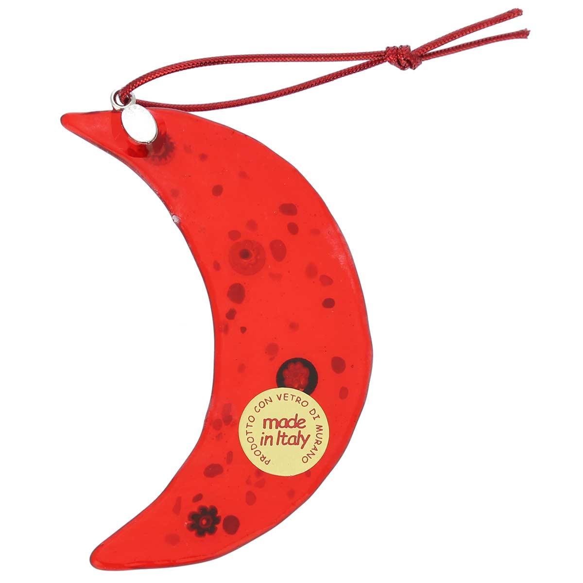Murano glass moon christmas ornament red - Murano glass ornaments italy ...
