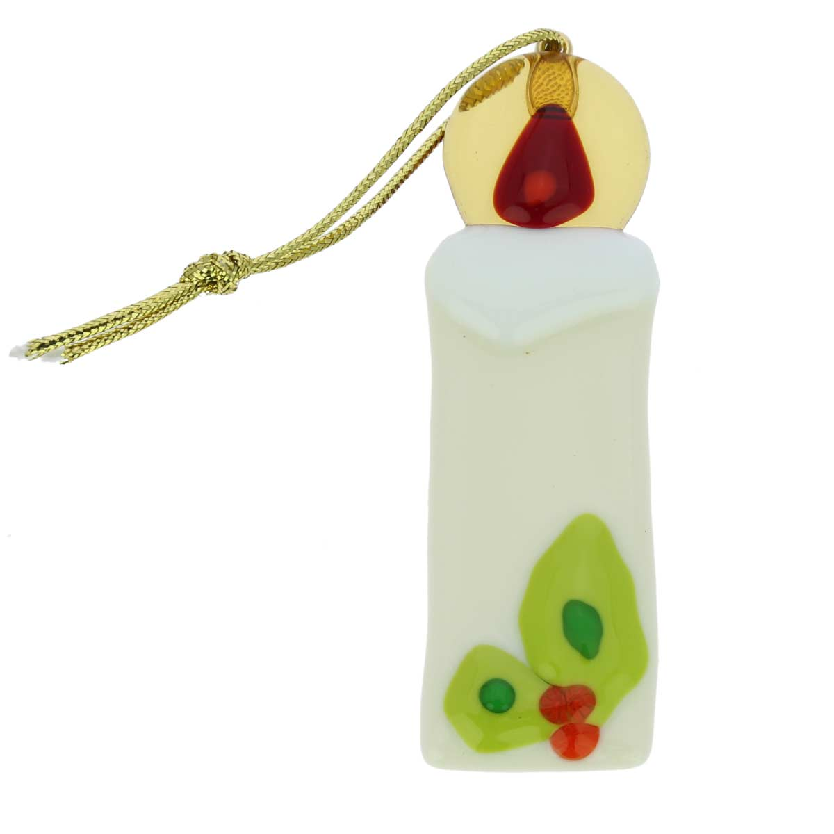 Murano glass candle christmas ornament white for Christmas candles and ornaments