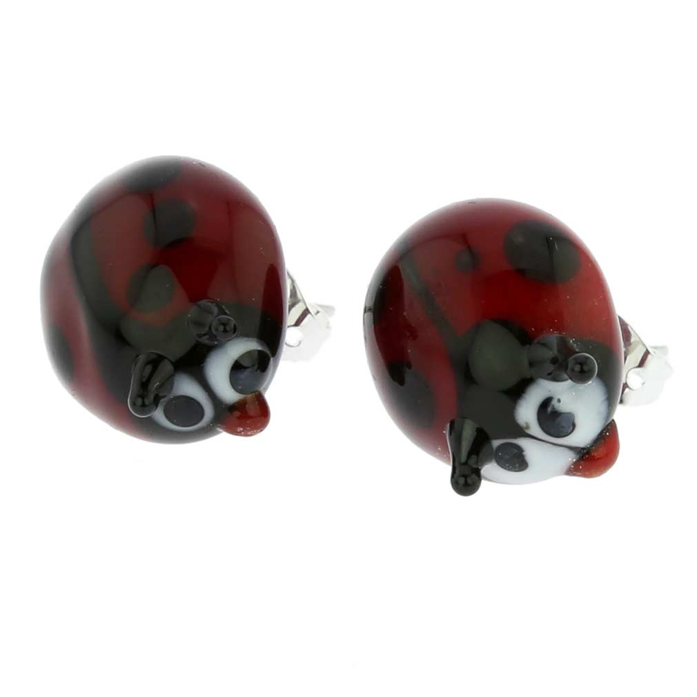 murano glass ladybug stud earrings