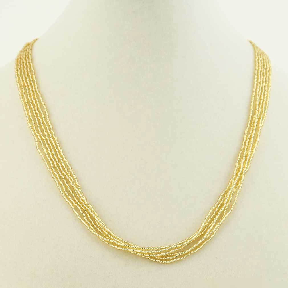 Six Strand Seed Bead Necklace - Gold