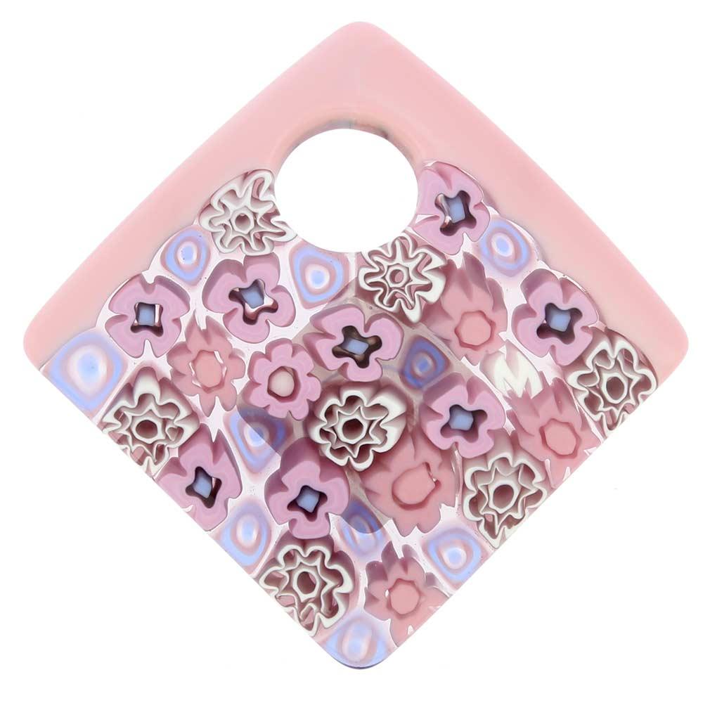 Curved Square Millefiori Pendant Pink