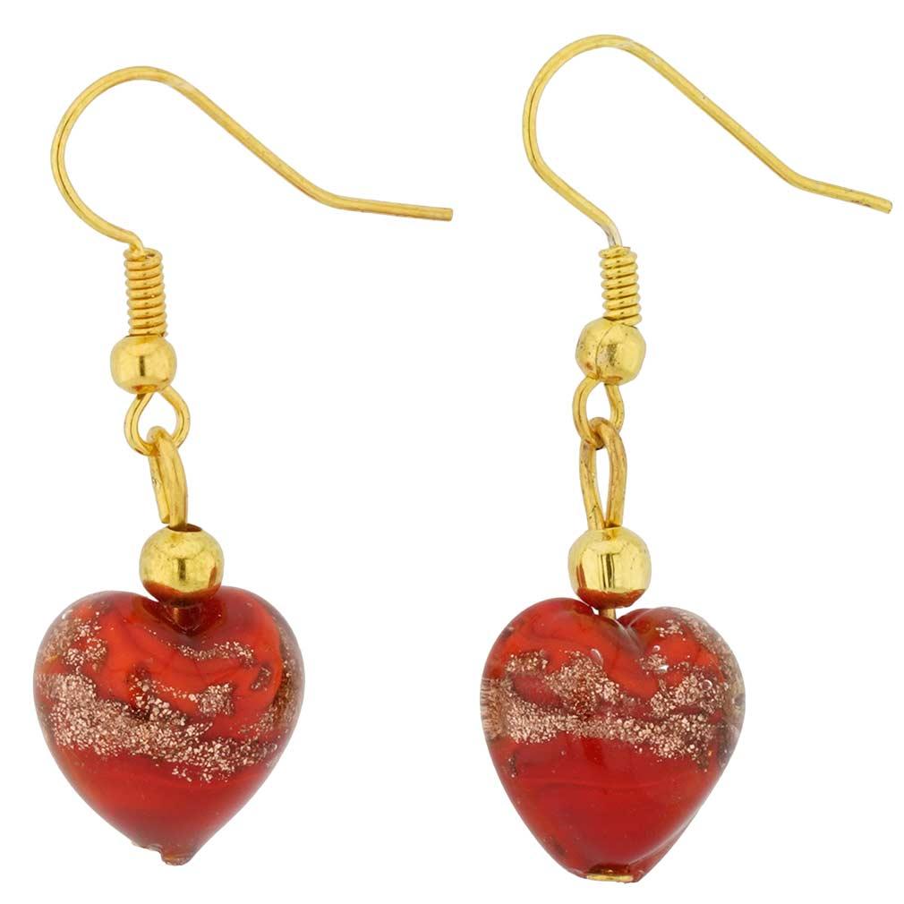 Murano Earrings Murano Heart Earrings Red Sparkles