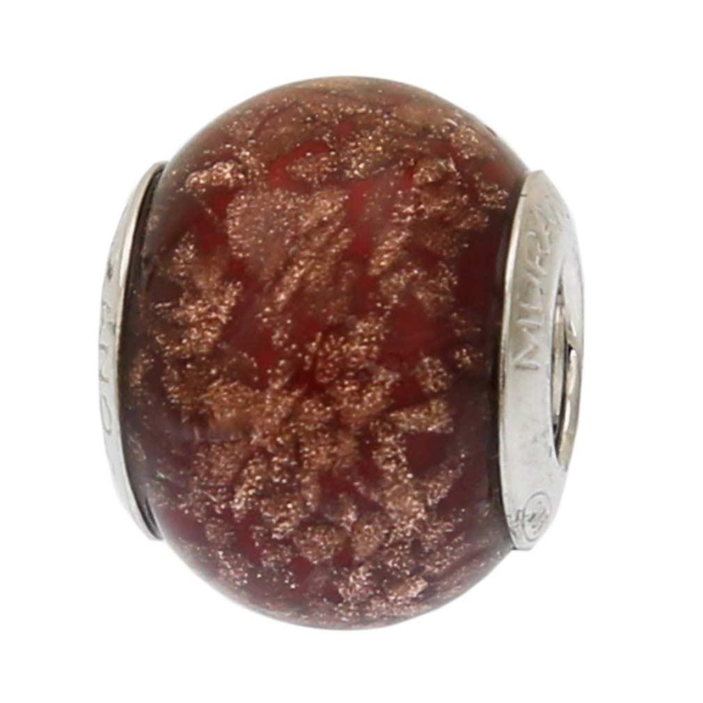 Charm Beads Sterling Silver Red Avventurina Murano Glass