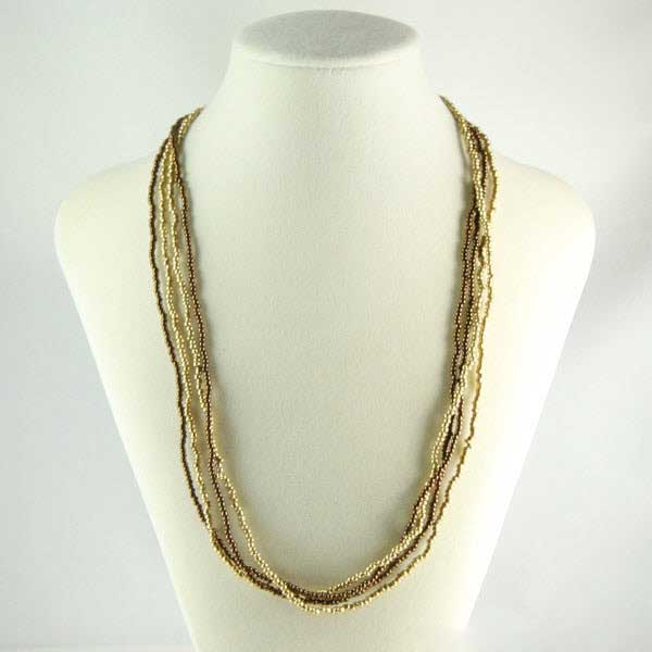 Multi-strand Seed Bead Necklace - Gold and Topaz Brown