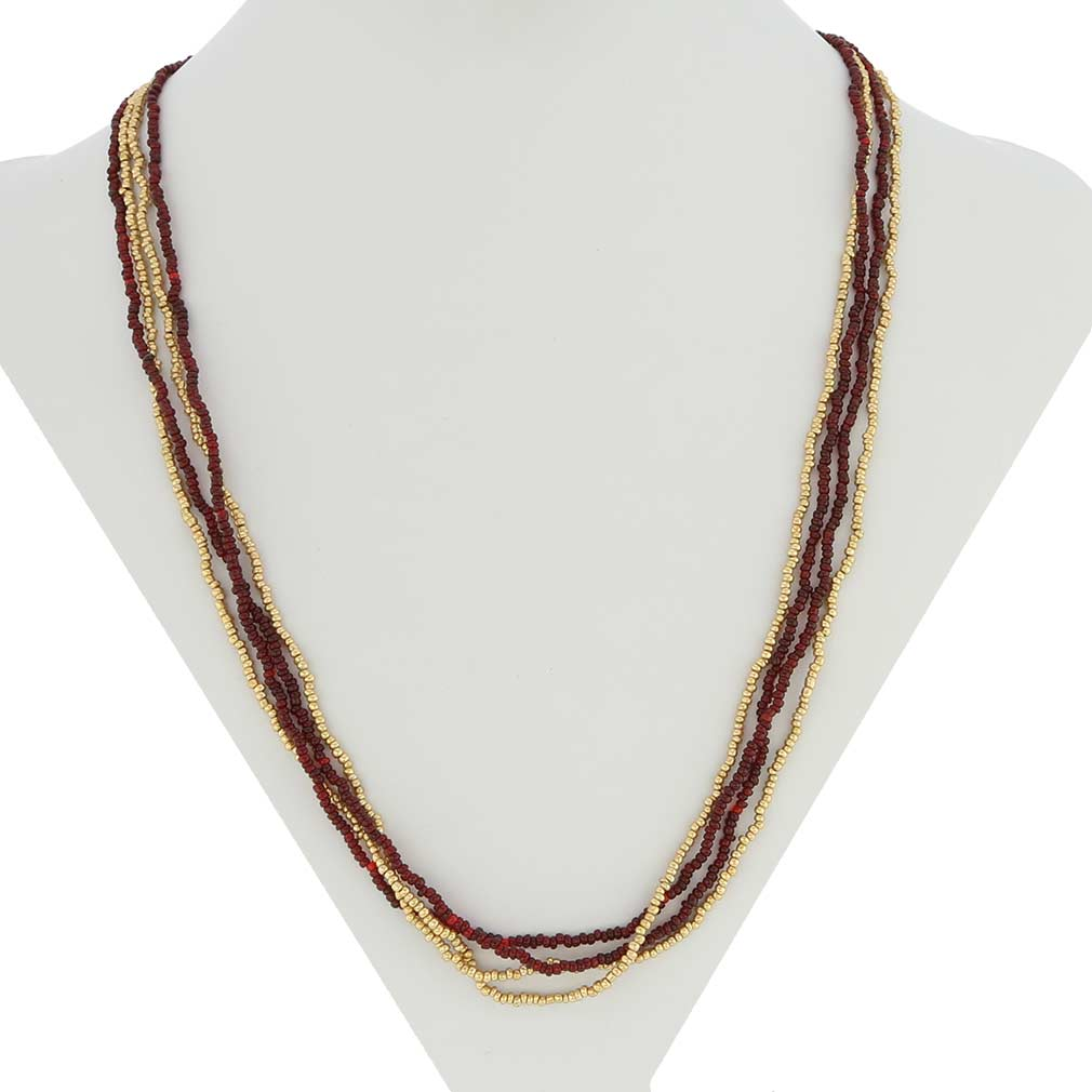 Multi-strand Seed Bead Necklace - Gold and Ruby Red