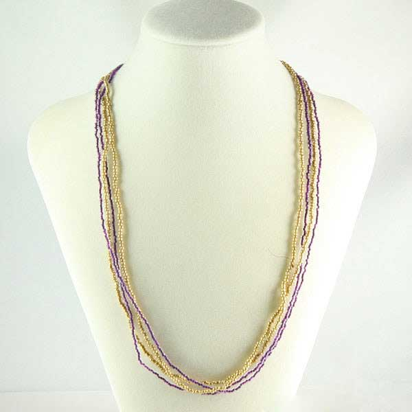 Multi-strand Seed Bead Necklace - Gold and Amethyst