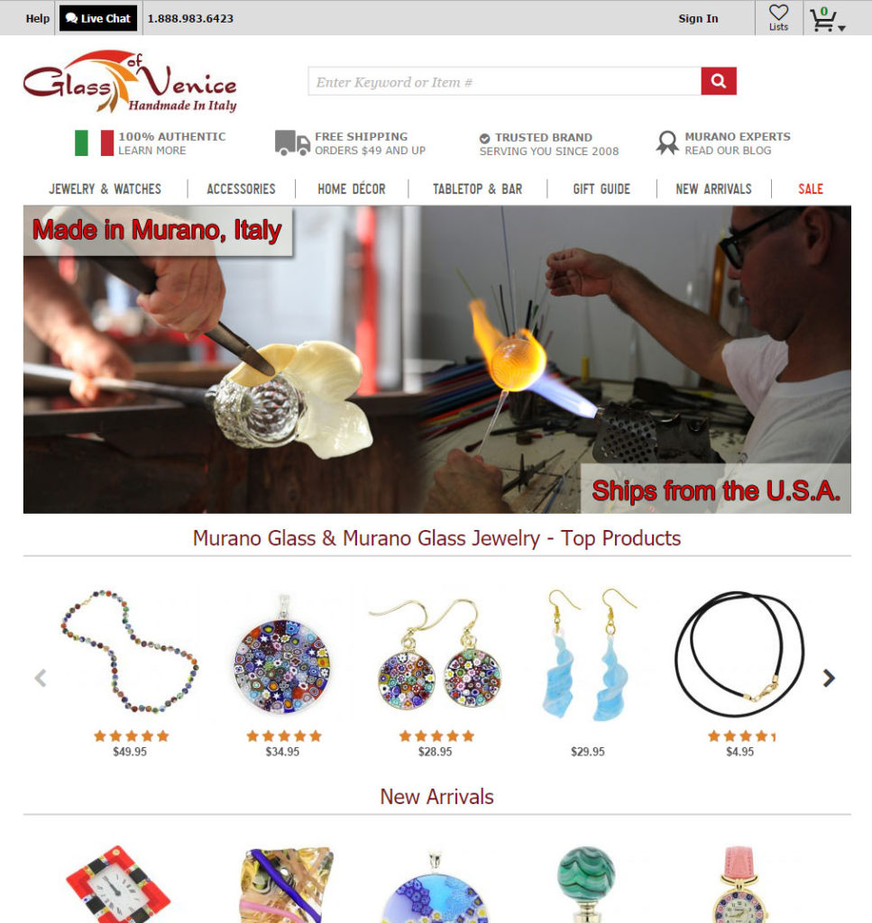 GlassOfVenice Website - we sell only authentic Murano Glass