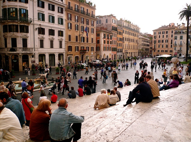 People watching in Italy