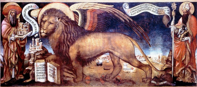 Donato Veneziano Painting Winged Lion inside Doges Palace