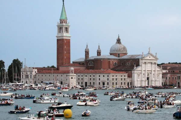 Boats in the Lagoon during Festa del Redentore in Venice
