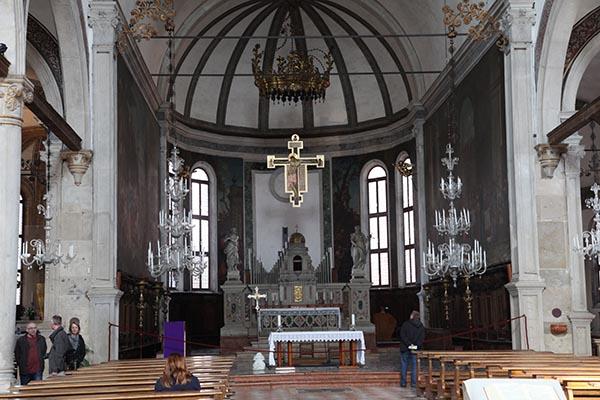 Murano Glass Chandeliers Inside The Church on Murano Island