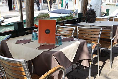 Restaurant on Murano Island with Murano Wine Glasses
