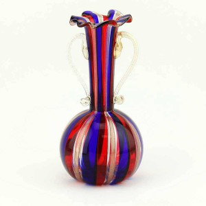 Murano Glass Filigrana Vase with Handles