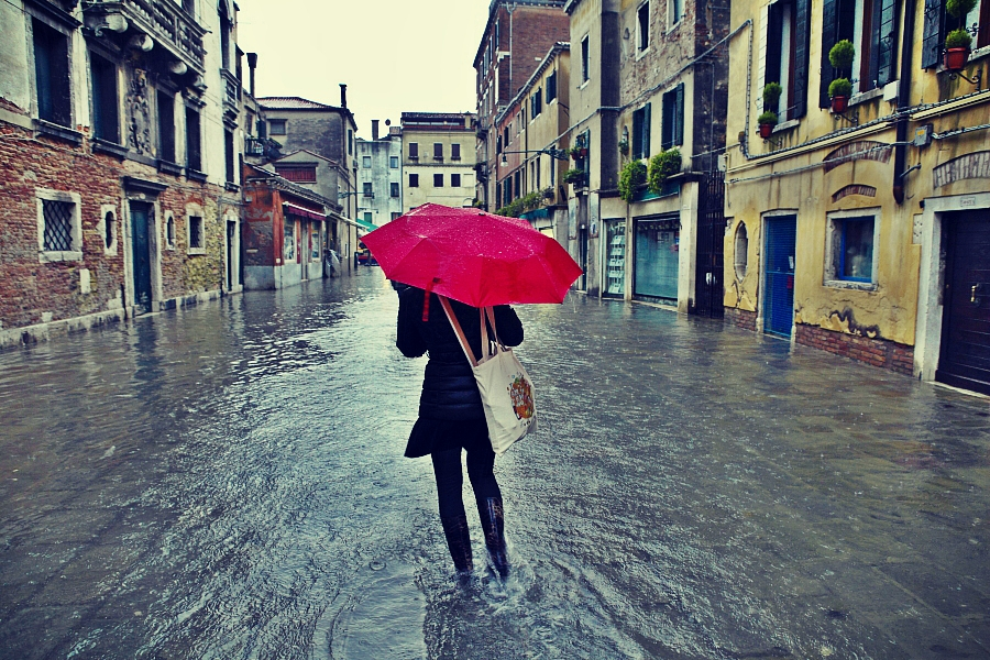 Flooded Street In Venice Italy