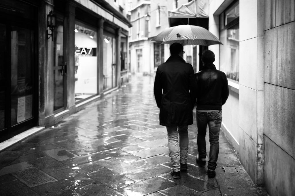Venice in the rain in black and white