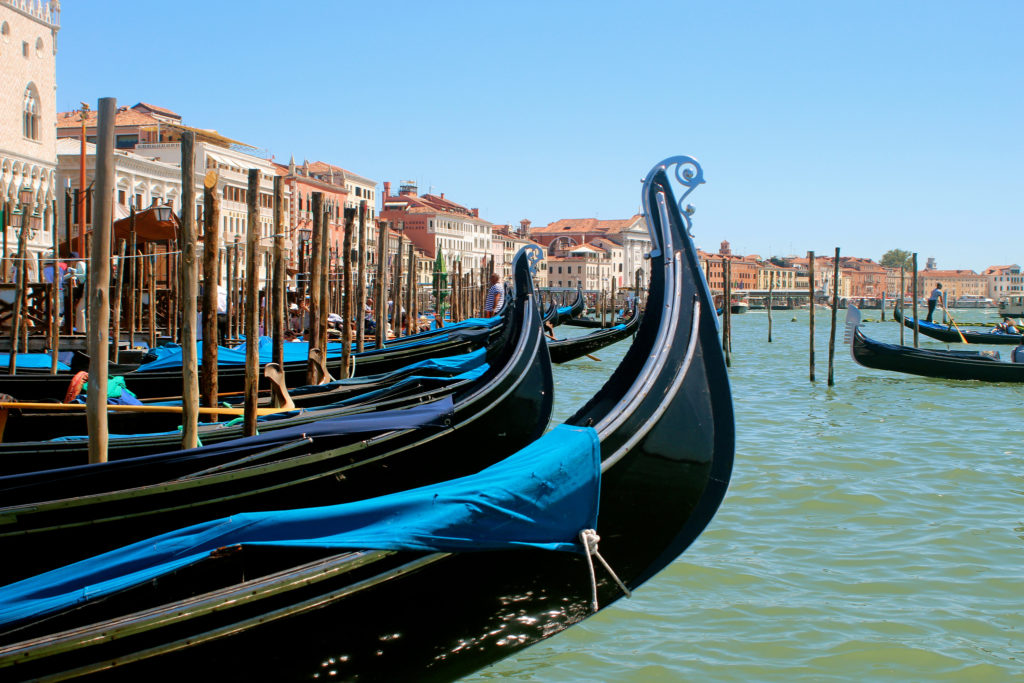 Gondolas on Grand canal in Venice Italy