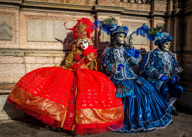 Masked and Costumed Revelers at Venice Carnival