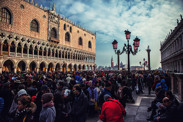 Venice Carnival Crowds on Piazza San Marco in Venice