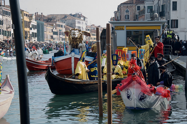 Boat Parade during Venice Carnival
