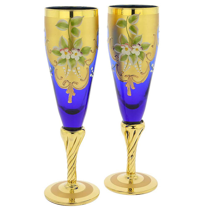 Murano Glass Tre Fuochi Wine Glasses