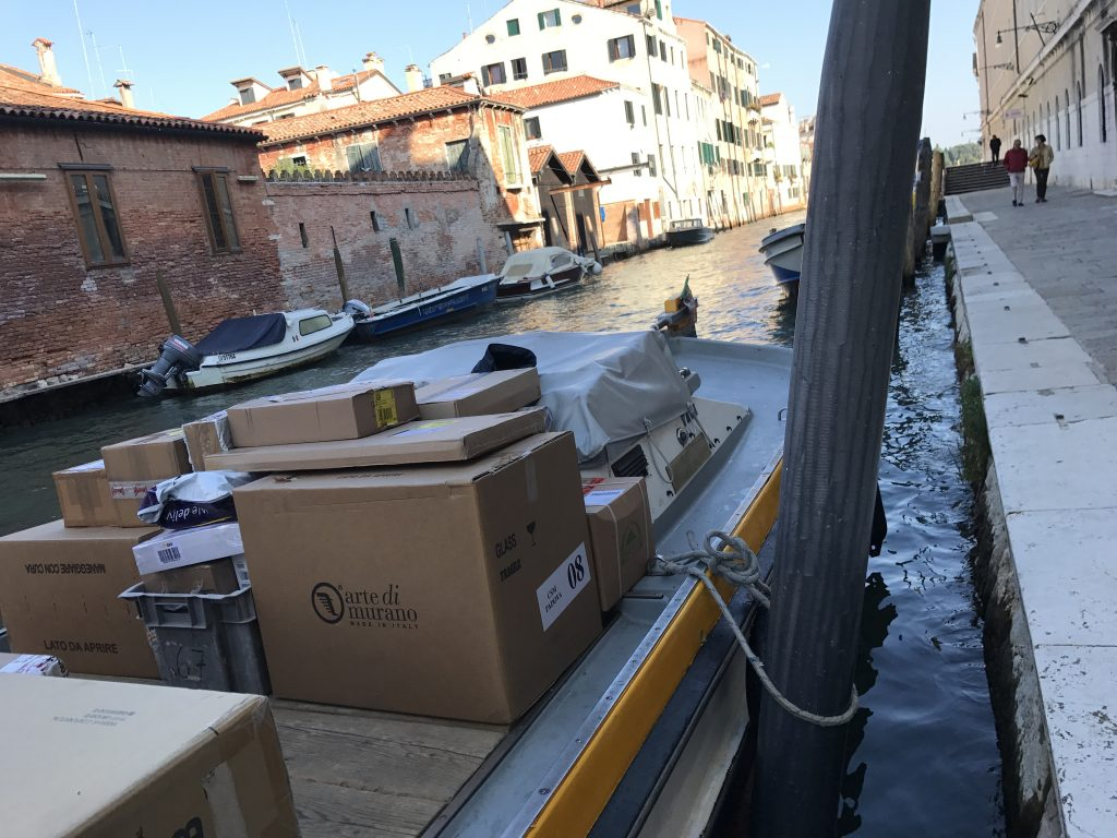Murano Glass Boxes On Boat In Venice Italy