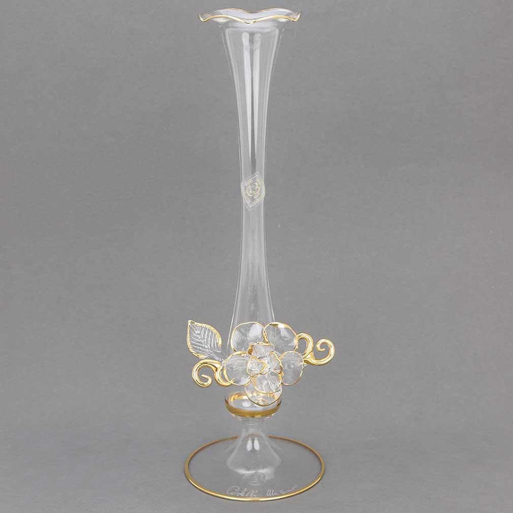 Cristallo and Gold Flower Murano Glass Vase